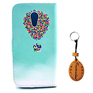 MOTO G2 Case,Deluxe Book Style Sleeve With Colorful Balloon Flying House Painting Folio Wallet Leather Cover for Motorola Moto G2 Skin