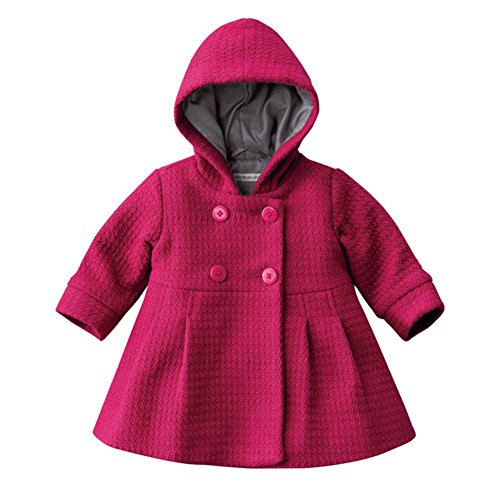 Cutelove Baby Girls Autumn Winter Hooded Pea Coat Outerwear Jacket Pink Red (80(6-12M), Rose Red) -