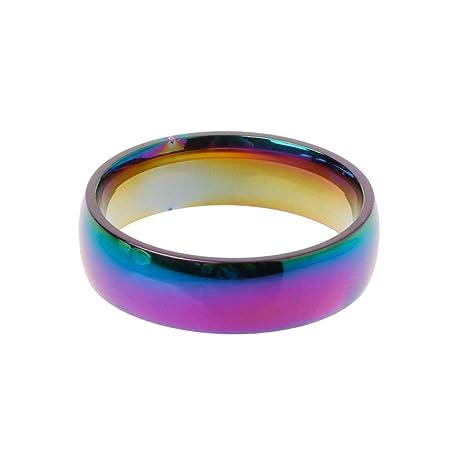 Anillos de Boda Rainbow Rainbow Titanium Gay Lesbian True Love Compromiso Promesa Anillos 20 mm ×