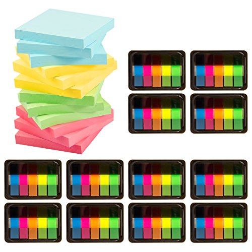 ANPHSIN 2400 pieces Sticky Notes and Flag Index Tabs Set, including 1200 sheets Sticky Notes and 1200 pieces Page Marker Tabs Self Adhesive Note Set