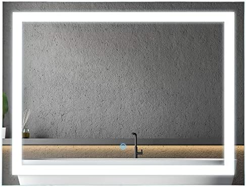 HOMCOM Vertical 32 LED Illuminated Bathroom Wall Mirror – Outline LEDs