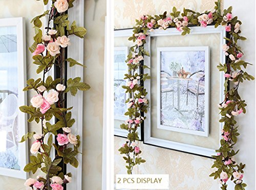 Lannu 2 Pack Artificial Rose Vine Flowers Fake Garland Ivy Flowers Silk Hanging Garland Plants for Home Wedding Party Decorations, (Pink &Champagne ) (Ivy Wedding Garland)