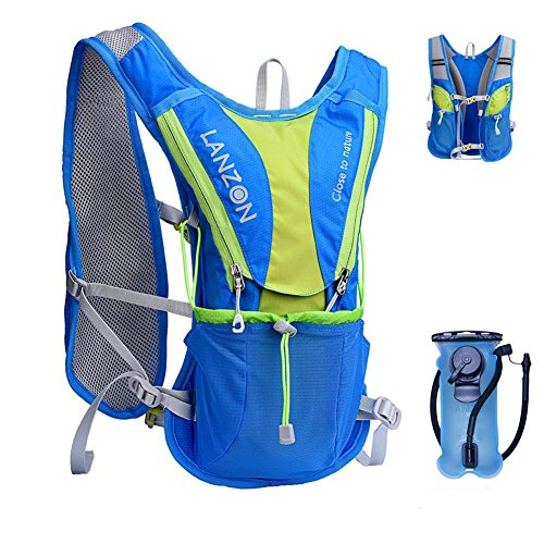 LANZON Hydration Pack with 2L Water Bladder (NO Cleaning Kit) - Blue - Marathon Running Vest, Leakproof Reservoir
