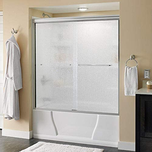 Delta Simplicity 60 In X 58 1 8 In Semi Frameless Traditional Sliding Bathtub Door In Chrome With Rain Glass Amazon Com