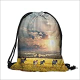 Travel Drawstring Closure Bag Venetian Paper Mache Handmade Full Mask with Feathers Gift Bag Pouches 14''W x 17.5''H