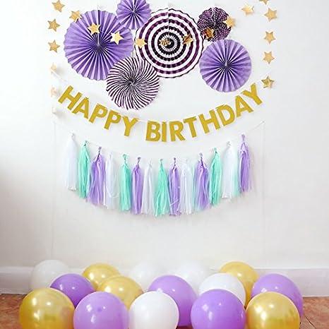 Decoraciones de fiesta de cumpleaños morado y dorado ...