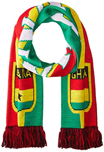(National Soccer Team Ghana Jacquard Knit Scarf, One Size, Red/Yellow/Green)
