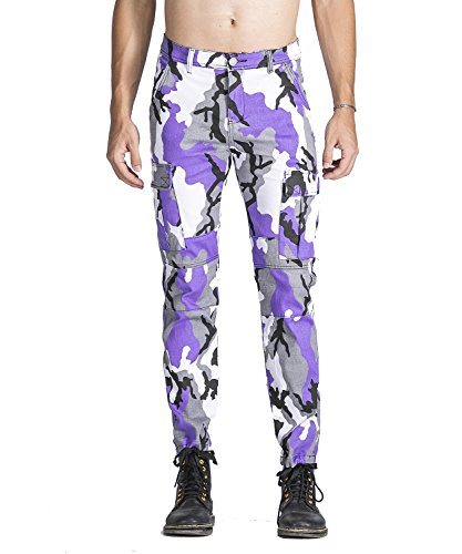 Idopy Men`s Street Style Camouflage Joggers Stretchy Biker Cargo Pants Purple (Purple Camo Pants)