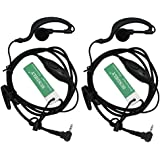 abcGOODefg® G Shape Clip-Ear Headset/Earpiece Mic for Motorola Talkabout 2 Two Way Radio Walkie Talkie 1-pin 100-0 (Pack of 2)