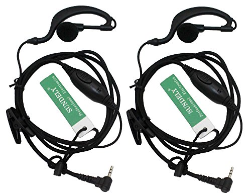 (2 x SUNDELY SportClip Clip-On Headphones Ear Clip/Ear Hook Headset/Earpiece for Cobra Radio/Walkie Talkie 1-pin Jack)