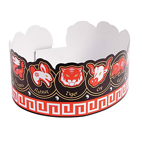 Fun Express - CNY Zodiac Paper Crowns for Chinese New Year - Apparel Accessories - Hats - Tiaras & Crowns - Chinese New Year - 12 Pieces]()