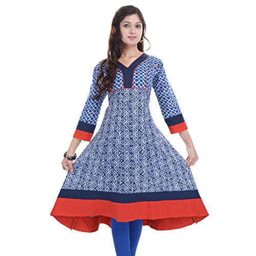 Chichi Women's Casual Solid Cotton Kurti Small Multi-Coloured from Chi Chi