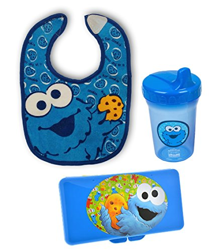 Sesame Street Cookie Monster 3 pc Gift Set for Baby Toddler - Bib, Cup, and Wipes Case (Birthday / Christmas / All Occasion)