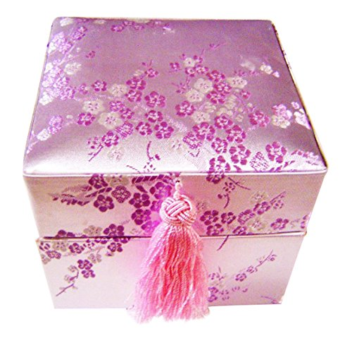 Domed Tassel (Yuemei TB950031 Pink Cherry Blossom Brocade Gift Box Gift, Storage & Keepsake Box, 5 1/2
