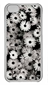 Shell Case for iphone 5C with White Chrysanthemum DIY Fashion PC Transparent Hard Skin Case for iphone 5C