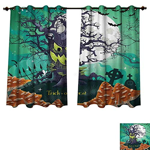 RuppertTextile Halloween Blackout Thermal Curtain Panel Trick or Treat Dead Forest with Spooky Tree Graves Big Kids Cartoon Art Print Patterned Drape for Glass Door Multicolor W55 x L63 inch -