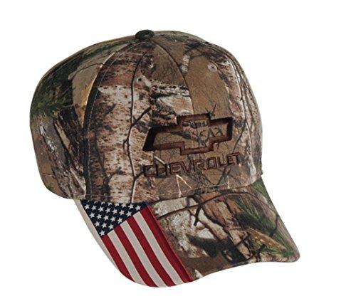 (Chevrolet Bowtie Mossy Oak Camo American Flag USA Hat)
