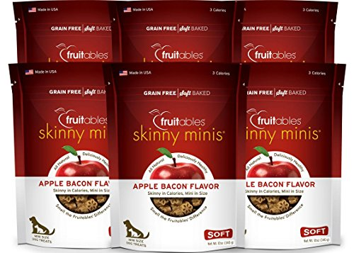 Fruitables Skinny Minis 12 Ounce Apple Bacon Low Calorie Soft and Chewy Training Treat Pack of 6