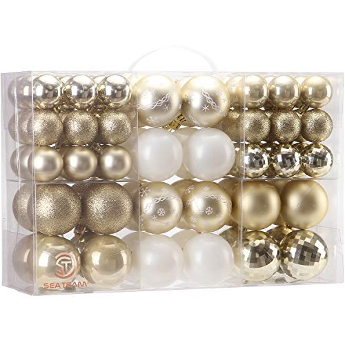 Sea Team 86 Pieces of Assorted Christmas Ball Ornaments Shatterproof Seasonal Decorative Hanging Baubles Set with Reusable Hand-held Gift Package for Holiday Xmas Tree Decorations, Gold (Decorations Tree Holiday)