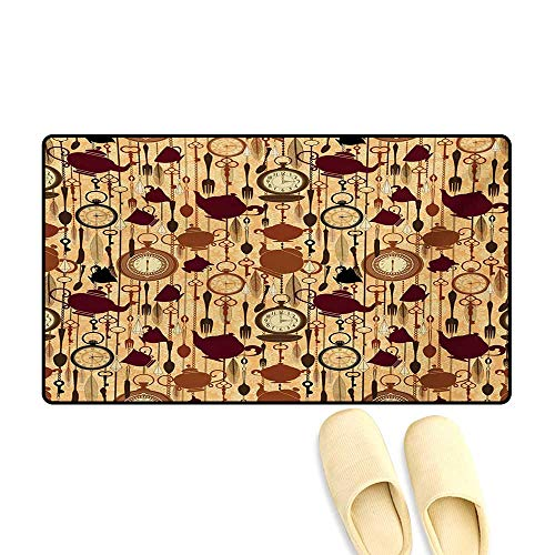 Door Mats,Breakfast Time Items Teacup Forks Spoons Chain Together Victorian Style Print,Customize Bath Mat with Non Slip Backing,Brown Redwood,16