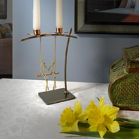 Lovers on a Swing Metal Candle Holder, Handcrafted in Brass by Modern Artisans (Image #3)