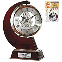 AllGiftFrames Large Gear Da Vinci Desk Clock Which Rotates 360 Degrees with Silver Engraving Plate. Unique Anniversary Gift, Wedding, Retirement and Appreciation Award