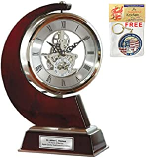 AllGiftFrames Large Gear Da Vinci Desk Clock Which Rotates 360 Degrees With  Silver Engraving Plate.