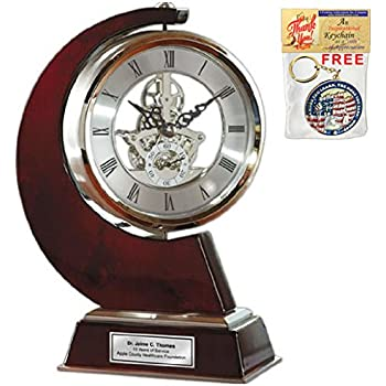 Large Gear Da Vinci Desk Clock Which Rotates 360 Degrees with Silver Engraving Plate. Unique Anniversary Gift, Wedding, Retirement and Appreciation Award