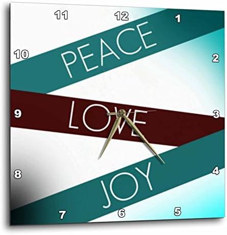 3dRose DPP_53618_1 Peace, Love, Joy Art Inspirational Aqua Wall Clock, 10 by 10-Inch