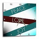 Cheap 3dRose dpp_53618_1 Peace, Love, Joy Art Inspirational Aqua Wall Clock, 10 by 10-Inch