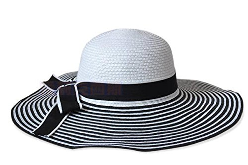 Image Unavailable. Image not available for. Colour  Women s Straw Sun  Floppy Hat White   Black Ribbon ed935b2c412
