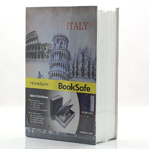 Riipoo M Size Book Diversion Hidden Book Safe with Strong Metal Case Inside and Key Lock ITALY Leaning Tower Size180 x 115 x 55 MM