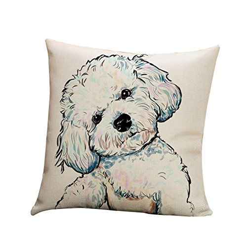 Price comparison product image wintefei Cartoon Dog Waist Throw Cushion Cover Linen Pillow Case Home Sofa Decor
