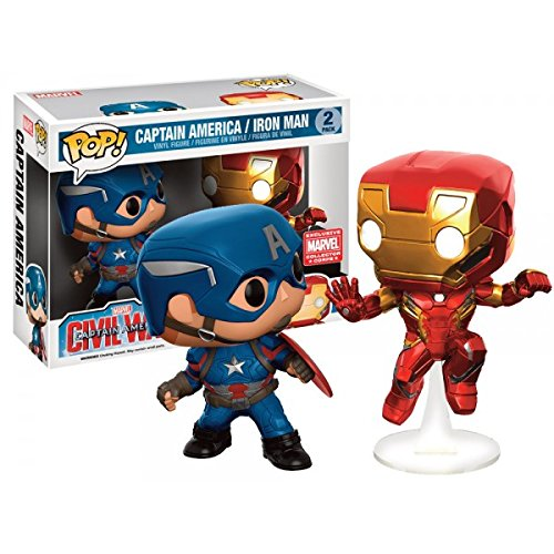 Funko Marvel Funko POP! Marvel Captain America & Iron Man Exclusive Vinyl Bobble Head 2-Pack (Marvel Funko Captain Pop America)