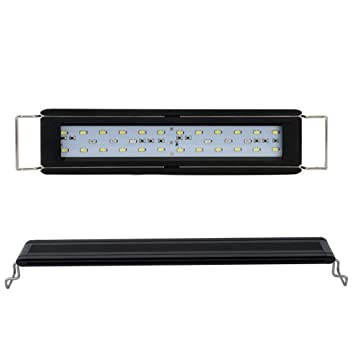 JanTeel Luz del Acuario LED, Fish Tank Light con Soportes Extensibles, Lámpara de Peces