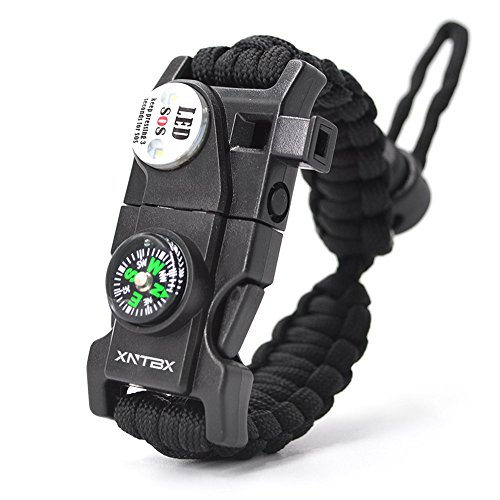 Survival Paracord Bracelet - Survival Gear Kit with SOS LED Light, Compass, Fire Starter, Whistle, Scraper, Emergency Knife - by XNTBX - Wilderness Survival-Kit For Hiking/Camping (Black)