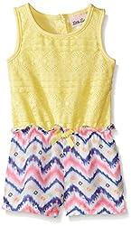Little Lass Little Girls' Romper Paperbag Waist, Yellow, 6X