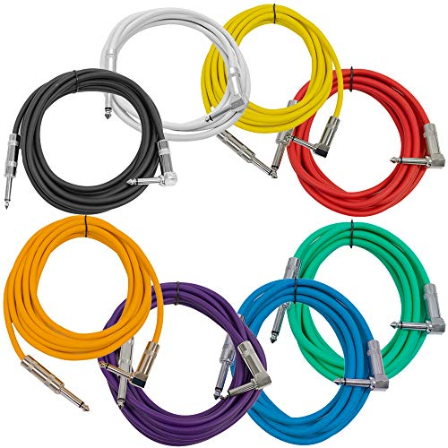 (Seismic Audio - SAGC10R-Multi - 8 Pack of 10 Foot Multi-Color 1/4 Inch TS Right Angle to Straight Guitar Cables 10' Instrument 1/4