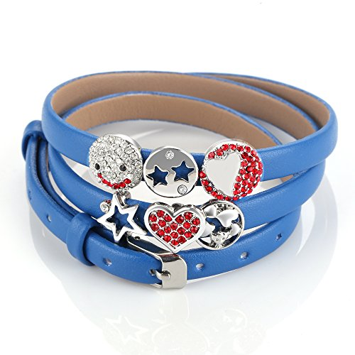 Menton Ezil Silver Charm Blue Leather Belt Bracelet 3 Wrap Star Pattern DIY - Holiday Real Gift Guide Simple