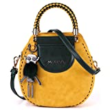 MUSAA Vintage Round Shape PU Leather Spell Color Shoulder Bag Totes Cross-Body Handbags For Women,Gift-Worthy Totes (Yellow)