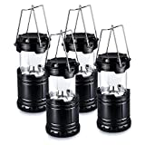 LED Camping Lantern - Pictek Camping Lantern, 6 LEDPortable Super Bright Outdoor Collapsible LED Camping Lantern for Hiking, Camping with Batteries, Black (4 Pack)