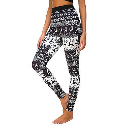 URIBAKE Women Xmas Leggings High Waist Reindeer Print Ultra Soft Elastic Holiday Casaul Workout Fitness Yoga Tights Pants