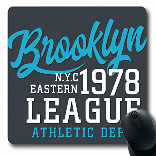 Ahawoso Mousepads for Computers Recreation Blue America Athletic Sport Brooklyn Tee Vintage Badge Black College Emblem Design Label Oblong Shape 7.9 x 9.5 Inches Non-Slip Oblong Gaming Mouse Pad -