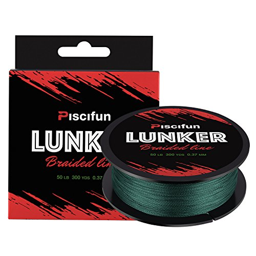Piscifun Lunker Braided Fishing Line Multifilament 300yards 547yards – Improved Braided Line – Abrasion Resistance Fishing Line – Zero Stretch – Thinner Diameter 6lb-80lb