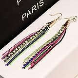 EVERRICH Triangle Royal Women's Long Chain Tassel Hook Zircon Fringe Dangle Drop Earrings Jewelry