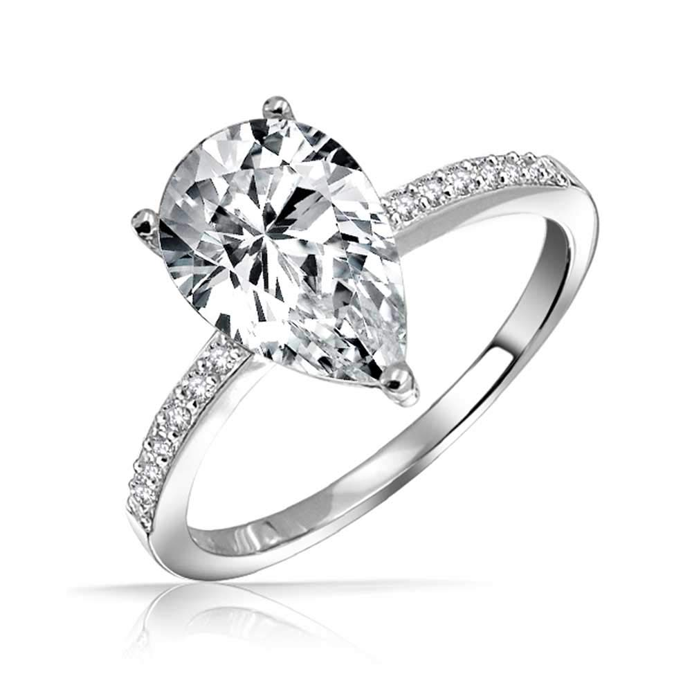 .925 Silver 2.25ct Pear Solitaire CZ Engagement Ring