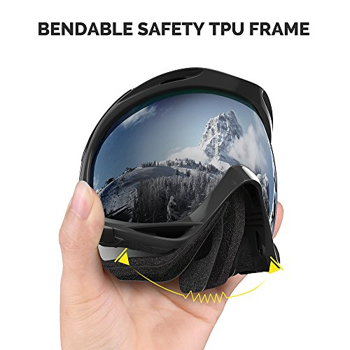 OutdoorMaster OTG Ski Goggles - Over Glasses Ski / Snowboard Goggles for Men, Women & Youth - 100% UV Protection (Black Frame + VLT 10% Grey Lens with REVO Silver)