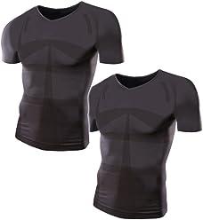 加圧シャツ モアプレッシャー メンズ 加圧インナー (Vネック/M-Lサイズ/黒2枚セット)