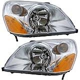 2003-2004-2005 Honda Pilot Headlight Headlamp Halogen Composite Front Head Lamp Light Pair Set Left Driver AND Right Passenger Side (03 04 05)