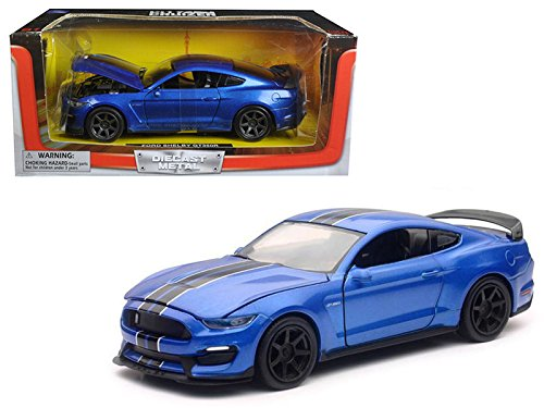 (2016 Ford Shelby Mustang GT350R Blue with Black Stripes 1/24 Diecast Model Car by New Ray SS-71833BL)